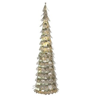 4' Pre-Lit Champagne Christmas Cone Tree Outdoor Decoration - Warm Clear LED Lights