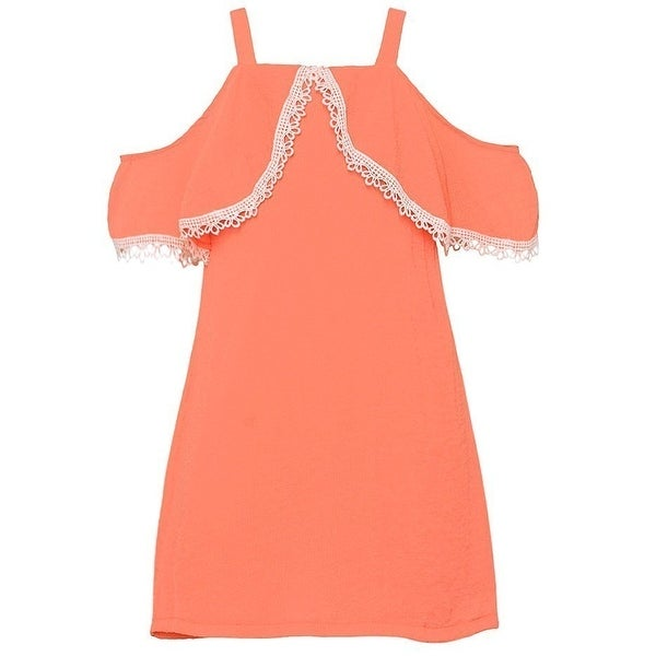 4a80c539ce2 Shop Rare Editions Girls Peach Cold Shoulder Lace Trimmed Overlay Dress -  Free Shipping On Orders Over  45 - Overstock.com - 20768124