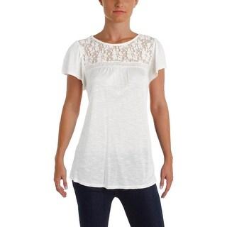 Denim & Supply Ralph Lauren Womens Blouse Slub Lace-Up