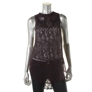 Free People Womens Shear Lace Sleeveless Pullover Top