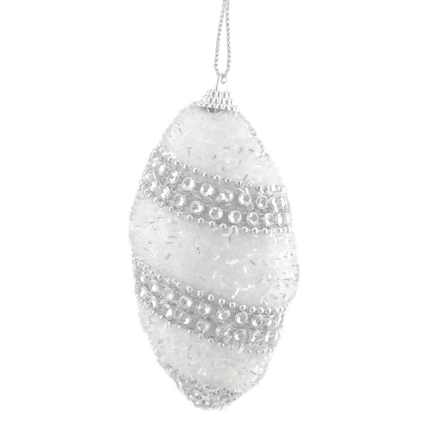 4ct White and Silver Beaded and Glittered Confetti Shatterproof Christmas Finial Ornaments 4.5""