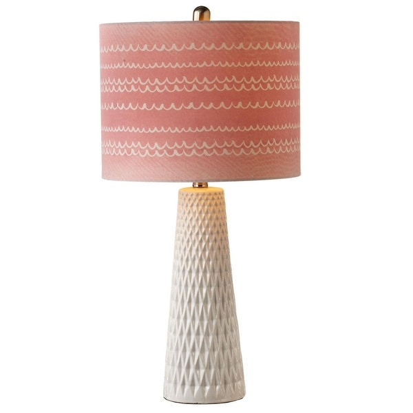 Set Of 2 White Diamond Pattern Table Lamps With Dusty Pink Shades 25