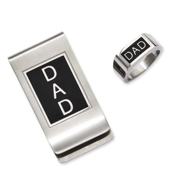 Chisel Stainless Steel Black Enamel Dad Money Clip & Ring Set