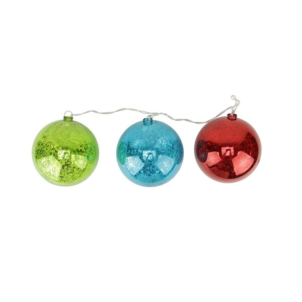 Set of 3 Lighted Multi-Color Mercury Glass Finish Ball Christmas Ornaments - Clear Lights