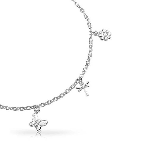 Stainless Steel Gold Color Anklet Bracelet with Dangling Charms of Dragonflies