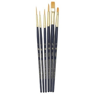 Princeton 9132 Economy Assorted Trim Paint Brush Set, Assorted Size, Blue, Set of 6