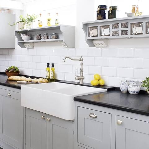 """33"""" Double Bowl White Farmhouse Kitchen Sink, Apron Front, Undermount / Overmount"""