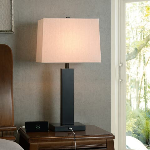 Concierge Oil Rubbed Bronze 3-Way Table Lamp with USB port