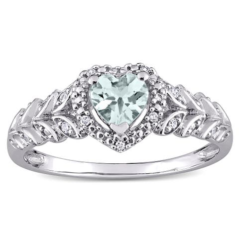 Miadora 10k White Gold Heart-cut Aquamarine and Diamond Accent Halo Heart Leaf Ring