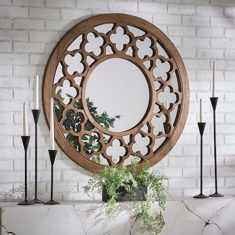 Silas Wood Quatrefoil Cutout Round Wall Mirror by iNSPIRE Q Artisan - Wall Mirror