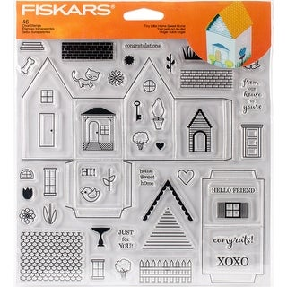 """Fiskars Clear Stamps 8""""X8""""-Tiny Little Home Sweet Home"""