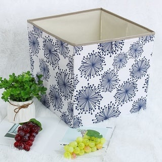"Linen Fabric Storage Bin Toy Box Organizer 13"" x 13"" x 13"" Blue Gypsophila Style - Blue Gypsophila - 13"" x 13"" x 13"""