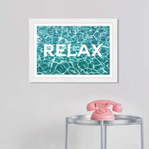 Wynwood Studio 'Relaxing Water' Typography and Quotes Blue Wall Art Framed Print