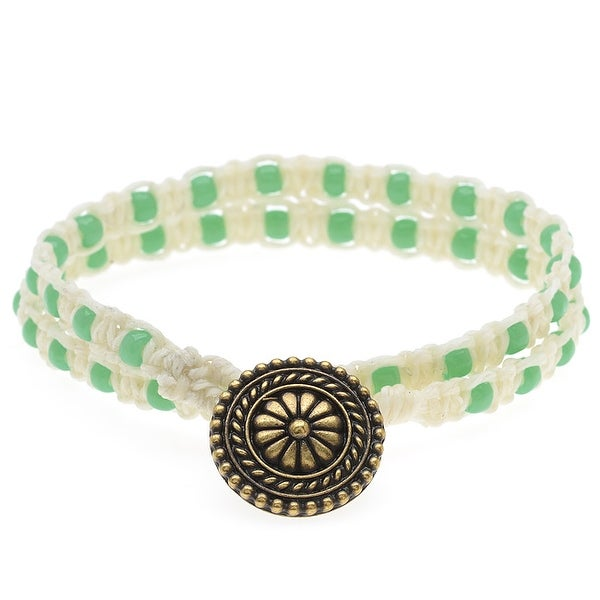 Beaded Macrame Wrap Bracelet (Nat & Green) - Exclusive Beadaholique Jewelry Kit