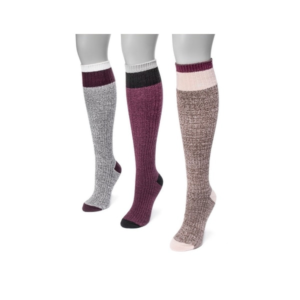 Muk Luks Socks Womens Color Block Knee High 3 pack One Size - One size