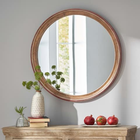 Hammett Indoor Wood Round Mirror by Christopher Knight Home