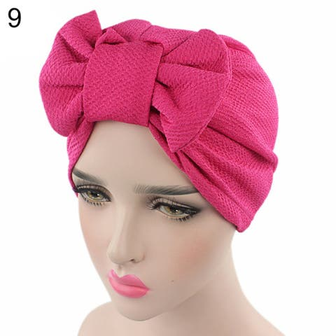 Women Stretchy Turban Cancer Chemo Cap Bowknot Pleated Headwrap Hair Hjab Hat