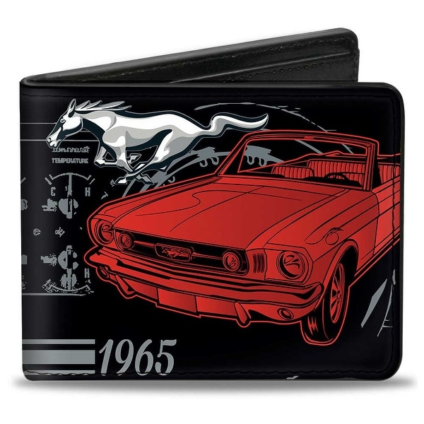 Ford Mustang 1965 Control Panel Black Silver Red Bi Fold Wallet - One Size Fits most