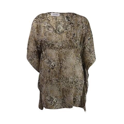 Calvin Klein Women's Handkerchief-Hem Cover-Up Tunic (Brown Multi, L/XL) - Brown Multi - L/XL