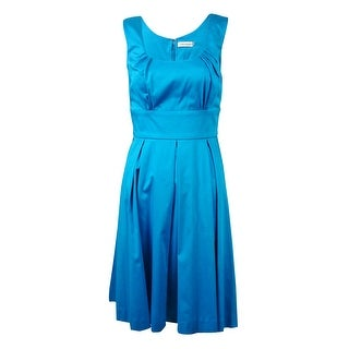 Calvin Klein Women's Scoop Neck A-Line Sundress - Cerulean (More options available)