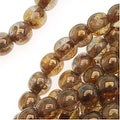 Czech Glass Druk Round Beads 4mm Smokey Topaz Gold Luster (100) - Thumbnail 0
