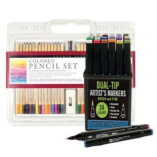 Artists Premium Colored Pencils And Studio Series Professional Alcohol Dual-Tip Markers - Gift Set