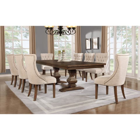 "Best Quality Furniture 9-piece Walnut 18"" Extension Dining Set"