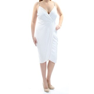 Womens Ivory Spaghetti Strap Below The Knee Faux Wrap Cocktail Dress Size: 12
