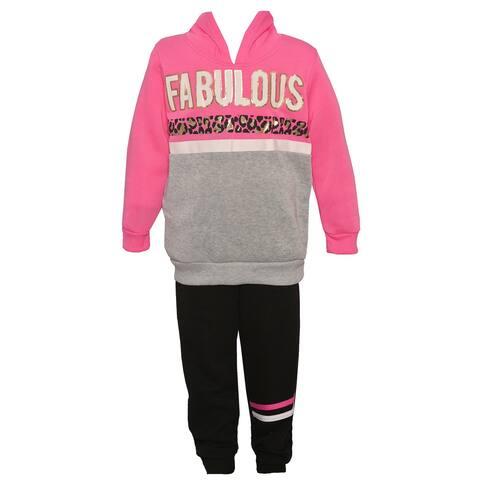 Little Girls Fuchsia Black Fabulous 2pc Hooded Sweatshirt Pants Outfit