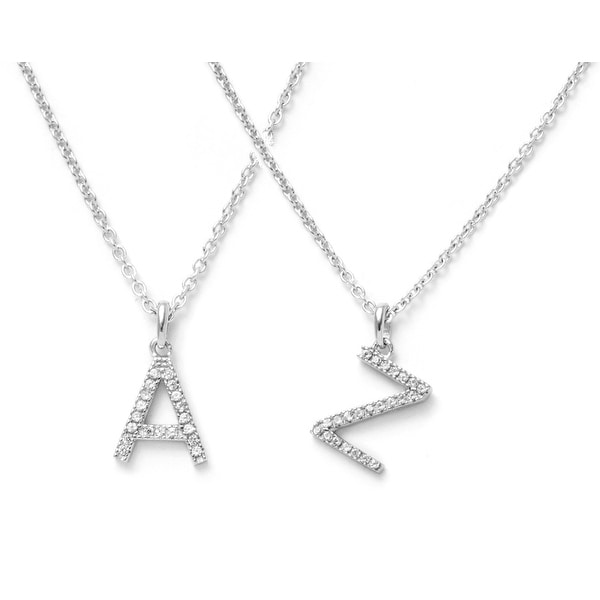 Pori 14k Solid White Gold Initial White Topaz Gemstone Necklace