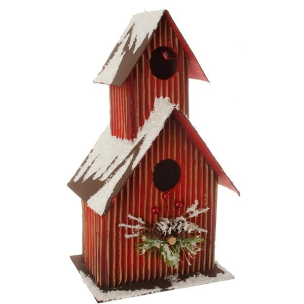 """11.5"""" Country Cabin Frosted Red and Brown Birdhouse Table Top Christmas Decoration"""