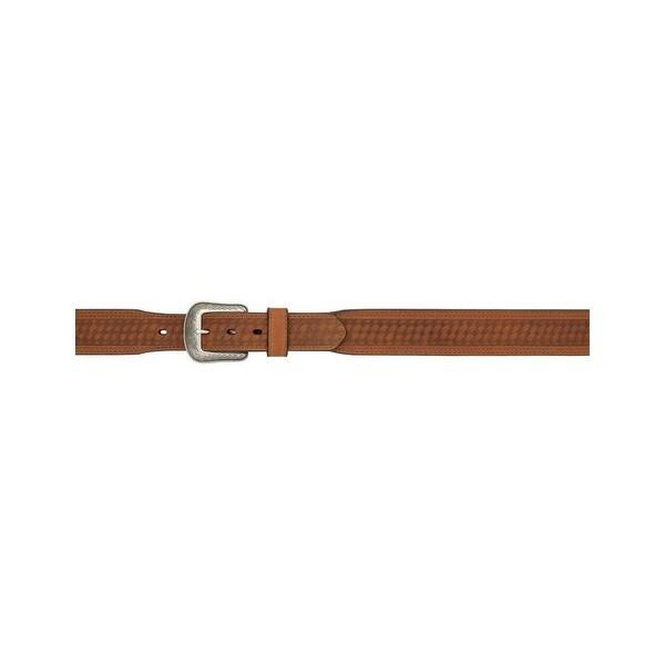 3D Belt Mens Western Leather Basketweave Tooled Antique Brown