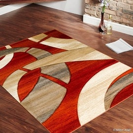 "Allstar Orange Carved Circles Modern Abstract Geometric Area Rug (5' 2"" x 7' 2"")"
