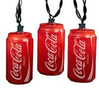 Set of 10 Blow Mold Classic Coca-Cola Can Party Christmas Lights - Green Wire - RED