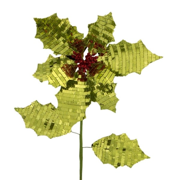 Pack of 12 Green Reversible Fabric Artificial Poinsettia Flower Christmas Picks 26""