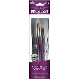 Gold Taklon Value Pack Brush Set-5/Pkg