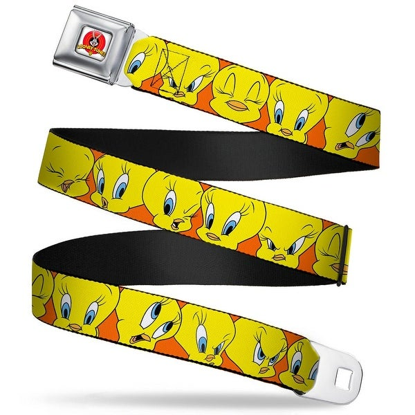 Looney Tunes Logo Full Color White Tweety Bird Close Up Expressions Orange Seatbelt Belt