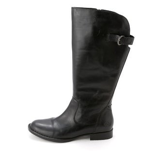 Born Womens TALLULAH Leather Round Toe Mid-Calf Riding Boots
