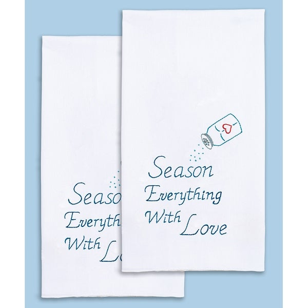 "Stamped White Decorative Hand Towel Pair 17""X28""-Season With Love"