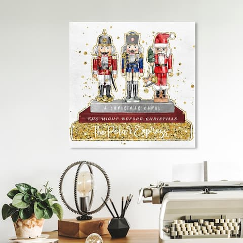 Oliver Gal 'Holiday Nutcracker Books Gold' Holiday Gold Wall Art