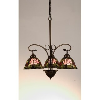 Meyda Tiffany 27418 Stained Glass / Tiffany 3 Light Down Lighting Chandelier from the Tiffany Rosebush Collection
