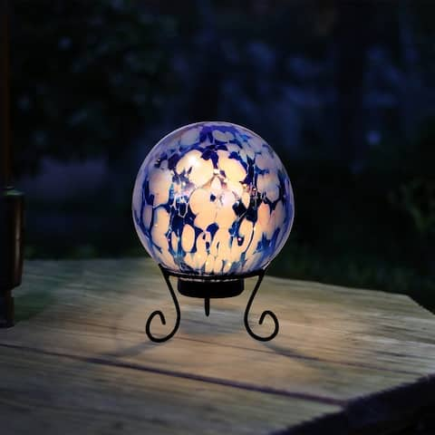 Alpine Blue & White Gazing Globe with LED Lights, 10 Inch Tall