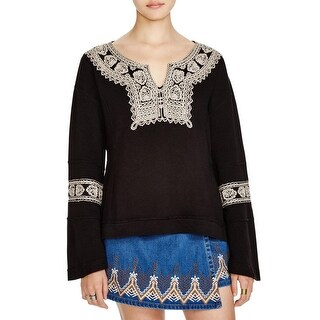 Free People Womens Pullover Top Embroidered Side Slits