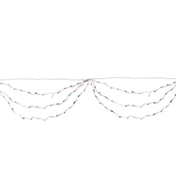 "Set of 150 Multi-Color Mini Swag Christmas Lights 3.5"" Spacing - White Wire - multi"