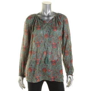 American Living Womens Cotton Floral Print Blouse - M