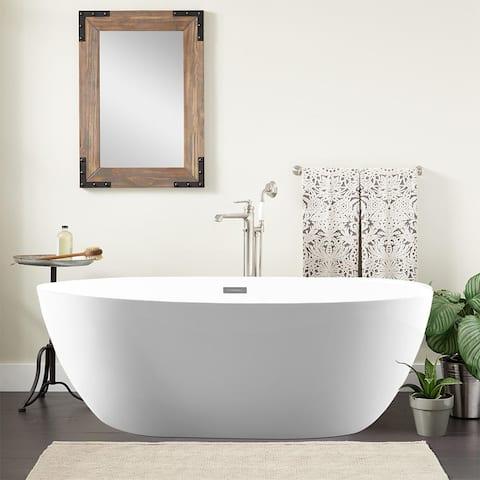 Vanity Art 55-Inch Freestanding White Acrylic Bathtub Stand Alone - 55