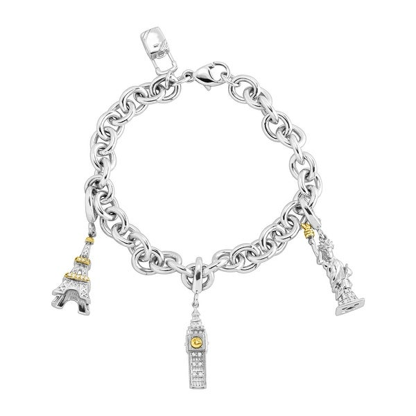 1d3c71e60 Travel Charm Bracelet with 1/8 ct Diamonds in Sterling Silver & 14K Gold