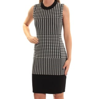 TOMMY HILFIGER $129 Women New 1262 Black White Houndstooth Body Con Dress XS B+B