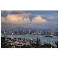 Poster Print entitled Harbor and city viewed from Point Loma, San Diego, California - multi-color