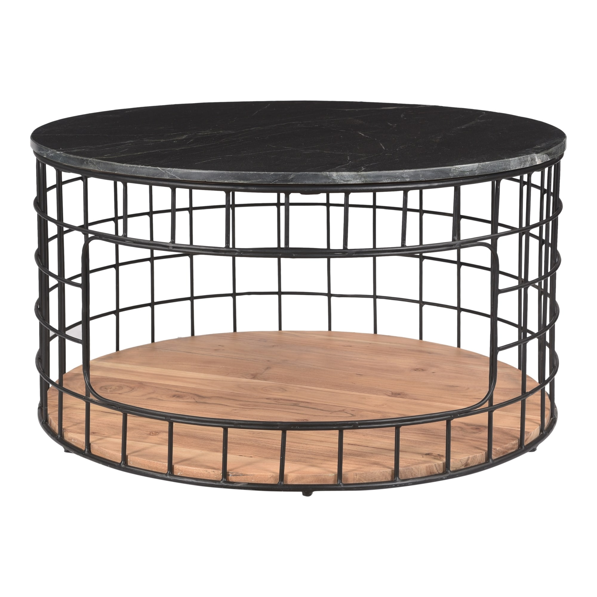 Picture of: Shop Black Friday Deals On Aurelle Home Terrence Acacia Wood And Marble Iron Basket Coffee Table Overstock 32453748